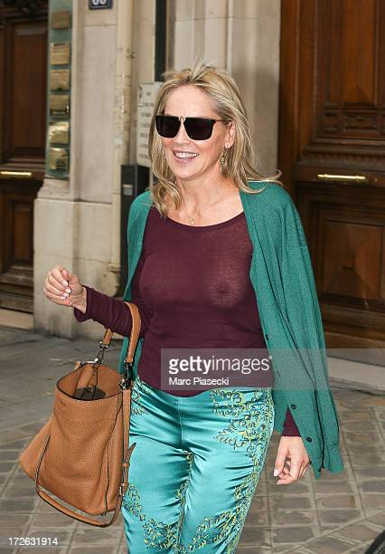 Actress Sharon Stone is seen leaving the 'Fendi' office on July 4 2013 in Paris France