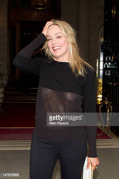 Actress Sharon Stone is seen leaving the Ritz hotel on June 28 2012 in Paris France