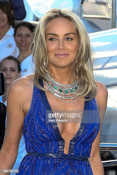 Actress Sharon Stone is seen leaving the 'Roberto Cavalli' yacht in the Cannes harbour during the 66th Annual Cannes Film Festival on May 21 2013 in...