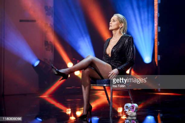 Actress Sharon Stone is seen on stage during the GQ Men of the Year Award show at Komische Oper on November 7, 2019 in Berlin, Germany.