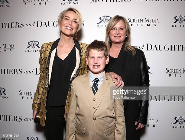 Actress Sharon Stone Laird Stone and Kelly Stone attend the Los Angeles Premiere of Screen Media Film's Mothers And Daughters at The London on April...