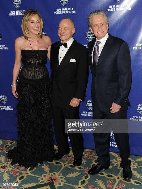 Actress Sharon Stone New York City Police Commissioner Raymond Kelly and actor Michael Douglas attend the 32nd Annual New York City Police Foundation...