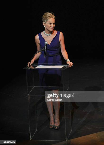 Actress Sharon Stone onstage at Macy's Passport Presents Glamorama 2011 held at the Orpheum Theatre on September 23 2011 in Los Angeles California