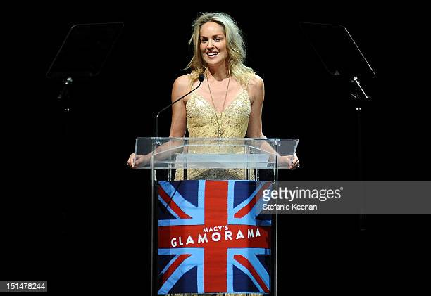 Actress Sharon Stone onstage at Macy's Passport Presents: Glamorama - 30th Anniversary in Los Angeles held at The Orpheum Theatre on September 7,...