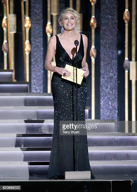 Actress Sharon Stone onstage at the 50th annual CMA Awards at the Bridgestone Arena on November 2, 2016 in Nashville, Tennessee.