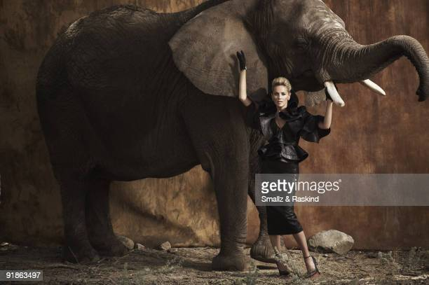 Actress Sharon Stone poses for a portrait session in Palmdale CA for Prestige Hong Kong Magazine