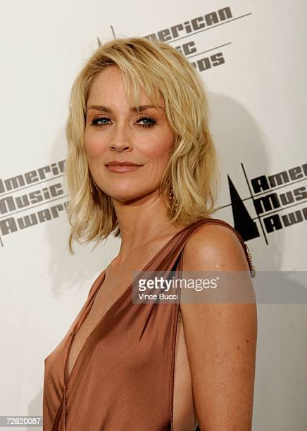 Actress Sharon Stone poses in the press room at the 2006 American Music Awards held at the Shrine Auditorium on November 21 2006 in Los Angeles...