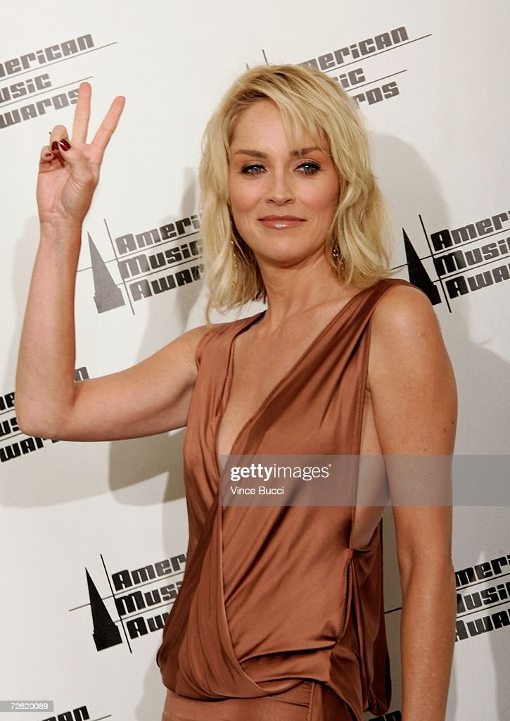 Actress Sharon Stone poses in the press room at the 2006 American Music Awards held at the Shrine Auditorium on November 21, 2006 in Los Angeles, California.