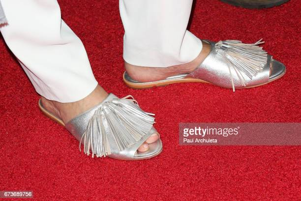 Actress Sharon Stone Shoe Detail attends the premiere of 'Grey Lady' at The Landmark Theater on April 26 2017 in Los Angeles California