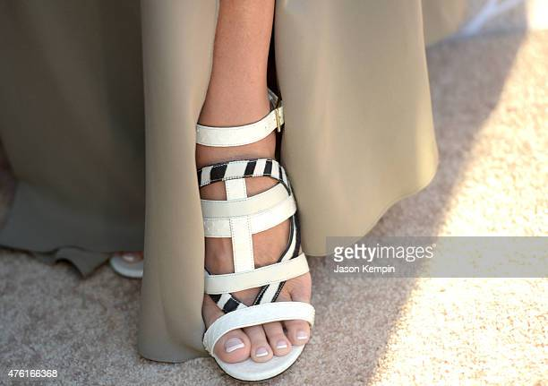 Actress Sharon Stone shoes details at the 14th annual Chrysalis Butterfly Ball sponsored by Audi Kayne Anderson Lauren B Beauty and Z Gallerie on...