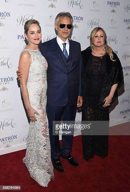 Actress Sharon Stone Singer Andrea Bocelli and Kelly Stone arrive to the 5th Annual Hotbed Gala Presented By The Drever Family Foundation at the...