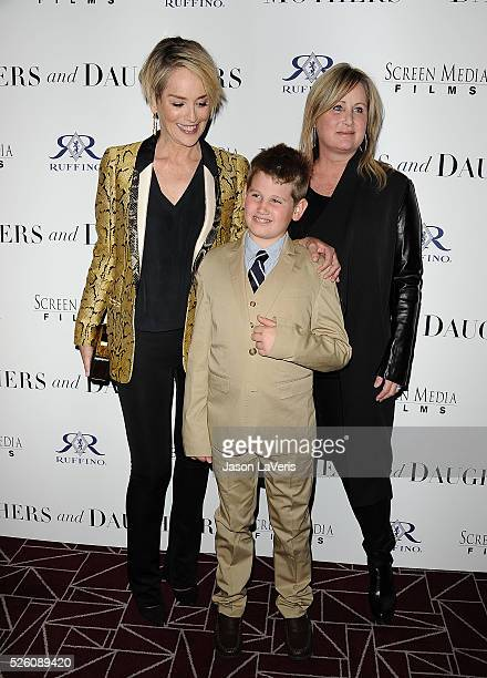 Actress Sharon Stone son Laird Stone and sister Kelly Stone attend the premiere of Mothers and Daughters at The London on April 28 2016 in West...