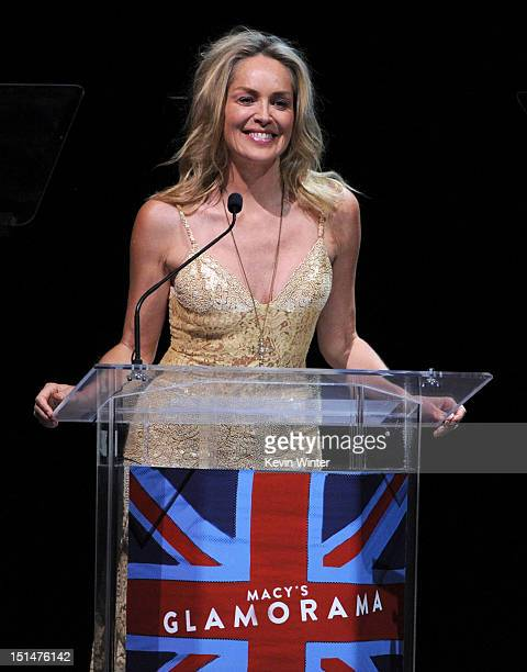 Actress Sharon Stone speaks onstage at Macy's Passport Presents: Glamorama - 30th Anniversary in Los Angeles held at The Orpheum Theatre on September...