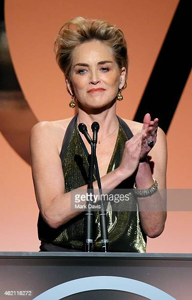 Actress Sharon Stone speaks onstage during the 26th Annual Producers Guild Of America Awards at the Hyatt Regency Century Plaza on January 24 2015 in...
