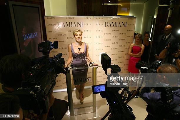 Actress Sharon Stone speaks to the press at the grand opening of the Damiani store on Rodeo Drive and a press conference to launch a new campaign...