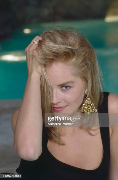 Actress Sharon Stone, star of the upcoming 'Total Recall' in Cannes Film Festival, 12th May 1990.