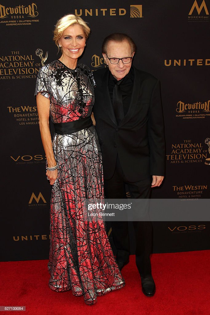 Actress Shawn King (L) and husband, TV host Larry King attends the 2016 Daytime Emmy Awards - Arrivals at Westin Bonaventure Hotel on May 1, 2016 in Los Angeles, California.