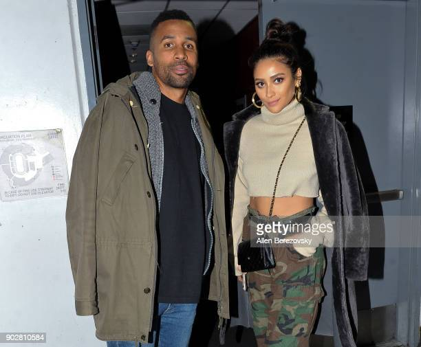 Actress Shay Mitchell and Matte Babel attend a basketball game between the Los Angeles Clippers and the Atlanta Hawks at Staples Center on January 8...