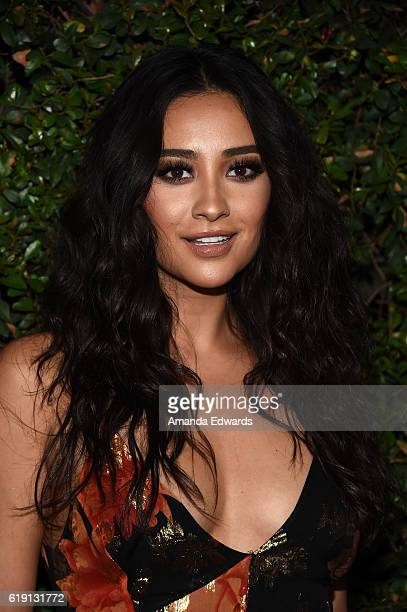 Actress Shay Mitchell arrives at the celebration for Freeform's Pretty Little Liars Final Season at Siren Studios on October 29 2016 in Hollywood...