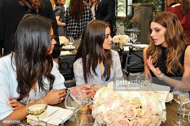 Actress Shay Mitchell Model Olivia Culpo and actress Ashley Greene attend NETAPORTERCOM celebrates Charlotte Tilbury at the AOC on February 20 2015...