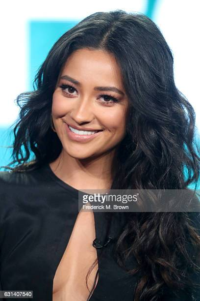 Actress Shay Mitchell of the television show 'Pretty Little Liars' speaks onstage during the DisneyABC portion of the 2017 Winter Television Critics...