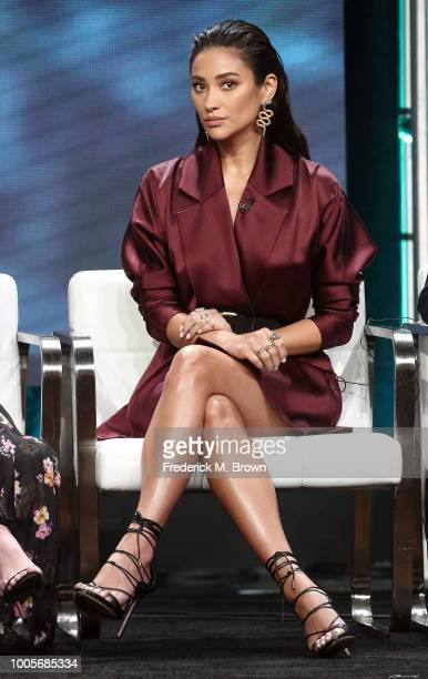 Actress Shay Mitchell of the television show You speaks during the AE segment of the Summer 2018 Television Critics Association Press Tour at the...