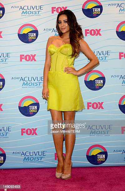 Actress Shay Mitchell poses in the press room during the 2012 Teen Choice Awards at Gibson Amphitheatre on July 22 2012 in Universal City California