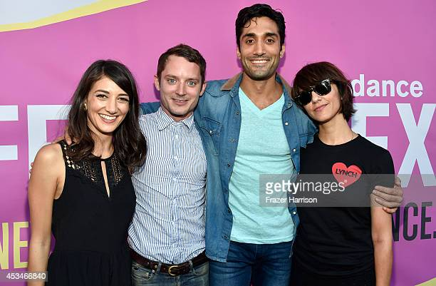 Actress Sheila Vand producer Elijah Wood actor Dominic Rains and director Ana Lily Amirpour attend the screening of 'A Girl Walks Home Alone at...