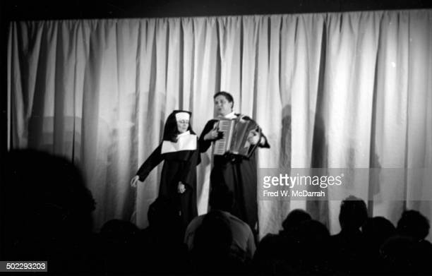 Actress Sheindi Tokayer and actor composer Al Carmines perform onstage in the Judson Poets' Theatre production of Rosalyn Drexler's 'Home Movies' at...