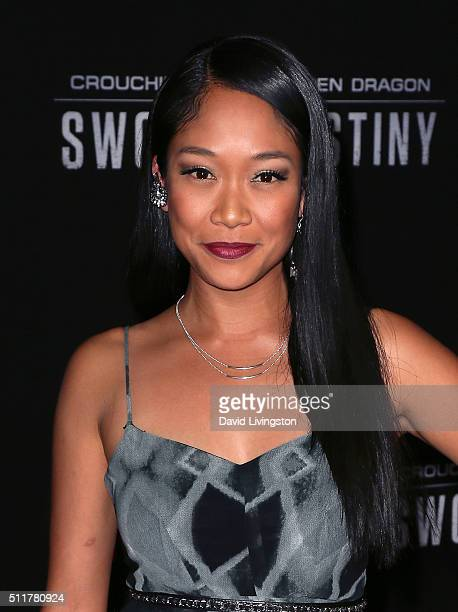Actress Shelby Rabara attends the premiere of Netflix's Crouching Tiger Hidden Dragon Sword of Destiny at AMC Universal City Walk on February 22 2016...