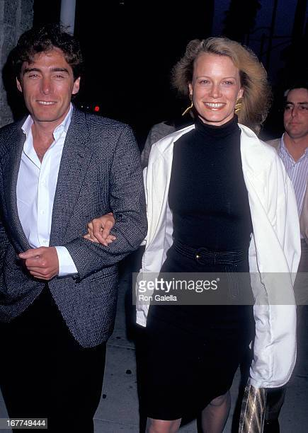 Actress Shelley Hack and husband Harry Winer attend The Believers Beverly Hills Premiere on June 3 1987 at the Academy Theatre in Beverly Hills...