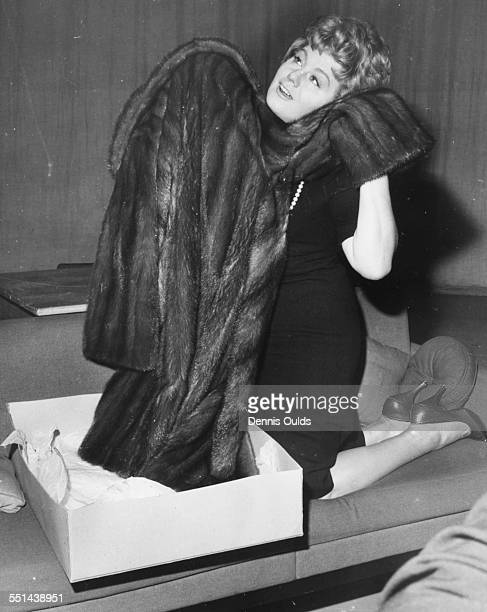 Actress Shelley Winters happily inspecting her new Labrador mink coat during rehearsals for the television play 'Mr Bixby and the Colonel's Coat' at...