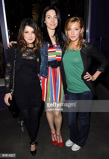 Actress Shenae Grimes actress Whitney Cummings and actress Katie Cassidy attend the 'Chelsea Chelsea Bang Bang' LA Launch Party at The Beverly Hilton...
