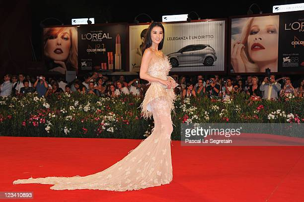 Actress Shengyi Huang attends the The Sorcerer And The White Snake premiere during the 68th Venice Film Festival at Palazzo del Cinema on September 2...