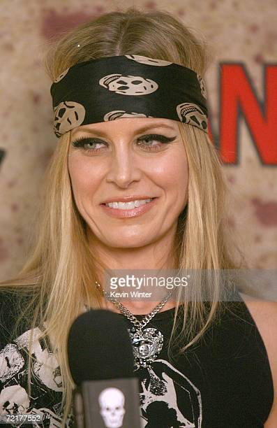 Actress Sheri Moon Zombie talks with a reporter backstage at the fuse Fangoria Chainsaw Awards at the Orpheum Theater on October 15 2006 in Los...