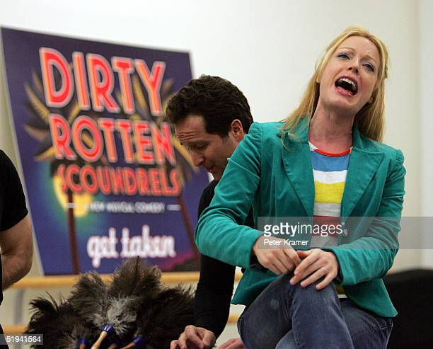 Actress Sherie Rene Scott rehearse scenes from her new musical Dirty Rotten Scoundrels which will preview on January 31 on January 12 2005 in New...