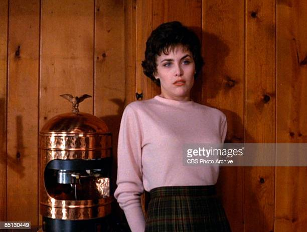 Actress Sherilyn Fenn as Audrey Horne in the pilot episode of David Lynch's hit television series 'Twin Peaks' 1990