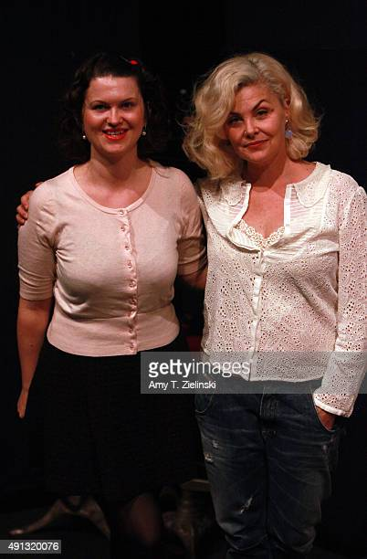 Actress Sherilyn Fenn who played on the TV series Twin Peaks the character Audrey Horne poses for pictures with a fan dressed as Audrey Horne during...