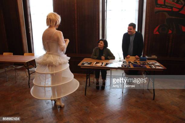 Actress Sherilyn Fenn who portrayed the character Audrey Horne in the TV show Twin Peaks welcomes a fan dressed as singer Julee Cruise during the...