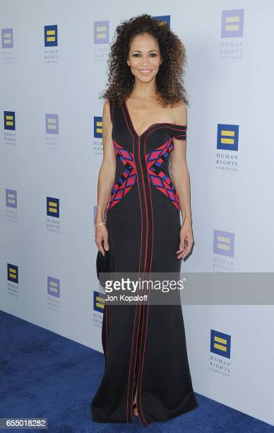 Actress Sherri Saum arrives at the Human Rights Campaign's 2017 Los Angeles Gala Dinner at JW Marriott Los Angeles at LA LIVE on March 18 2017 in Los...