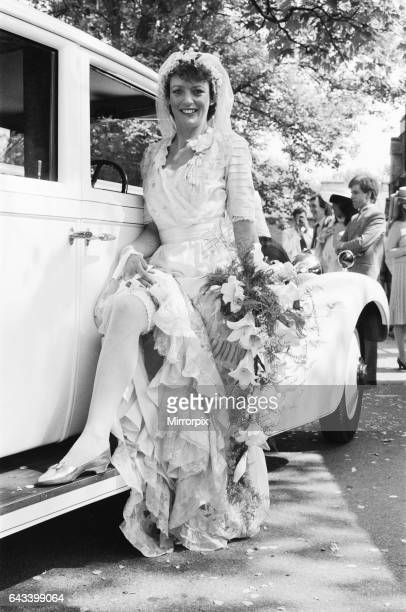 Actress Sherrie Hewson pictured during her wedding to British Aerospace engineer Ken Boyd at St Andrews Church in Ham Common Surrey She wore a 1910...