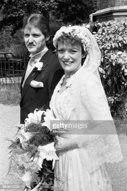 Actress Sherrie Hewson pictured during her wedding to British Aerospace engineer Ken Boyd at St. Andrews Church in Ham Common, Surrey. She wore a...
