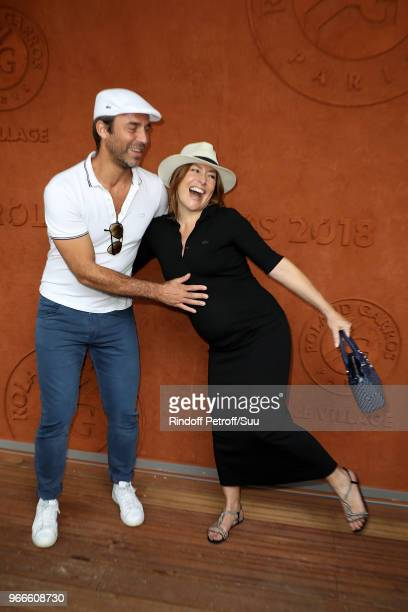 Actress Shirley Bousquet and her companion Charles Watine attend the 2018 French Open Day Eight at Roland Garros on June 3 2018 in Paris France