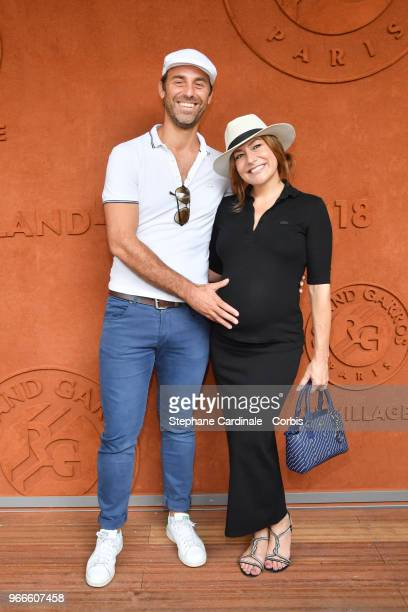 Actress Shirley Bousquet , pregnant, and her companion Charles Watine attend the 2018 French Open - Day Eight at Roland Garros on June 3, 2018 in...