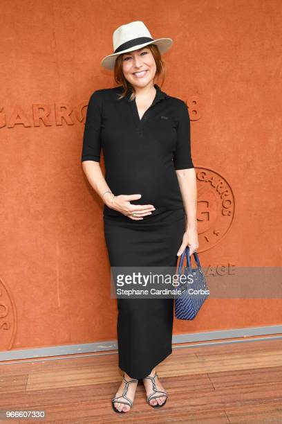 Actress Shirley Bousquet pregnant attends the 2018 French Open Day Eight at Roland Garros on June 3 2018 in Paris France
