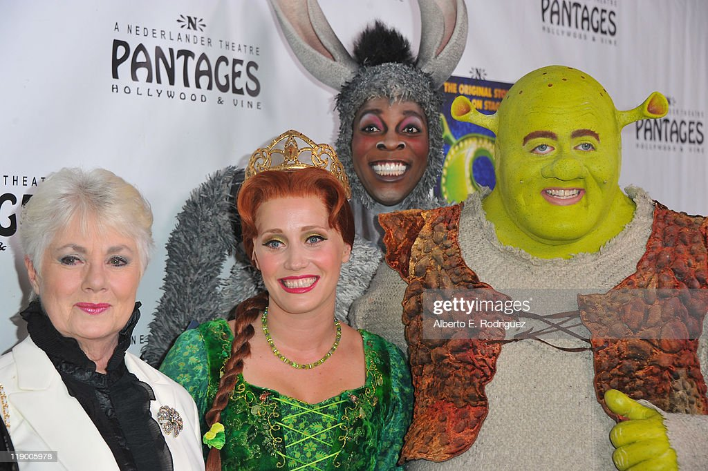 Actress Shirley Jones, actress Haven Burton as Princess Fiona, actor Alan Mingo Jr. as Donkey and actor Eric Petersen as Shrek arrive to the Los Angeles Opening Night of 'Shrek The Musical' at the Pantages Theatre on July 13, 2011 in Hollywood, California.