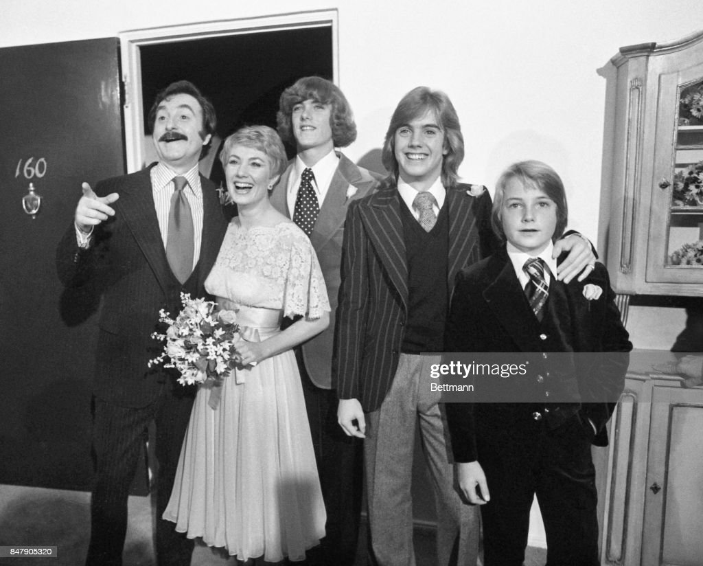 Actress Shirley Jones and producer Marty Ingels are joined by Shirley's son (L-R) Patrick, Shaun, and Ryan Cassidy following their wedding at the Bel Air Hotel. Shaun, Miss Jones oldest son, gave the bride away.