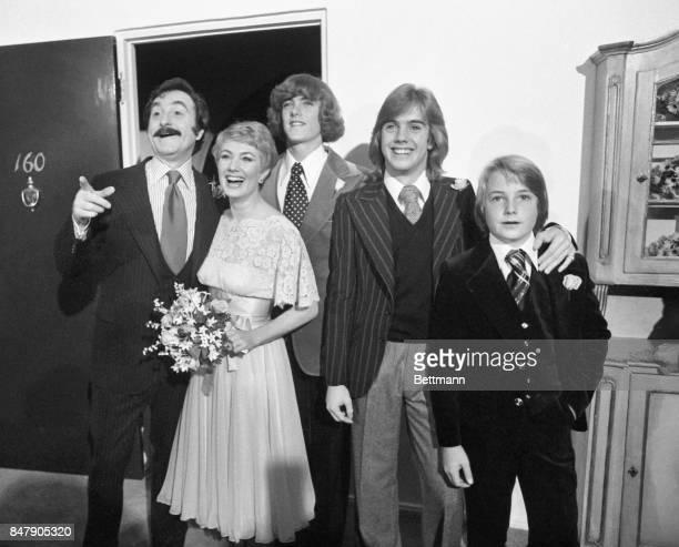 Actress Shirley Jones and producer Marty Ingels are joined by Shirley's son Patrick, Shaun, and Ryan Cassidy following their wedding at the Bel Air...