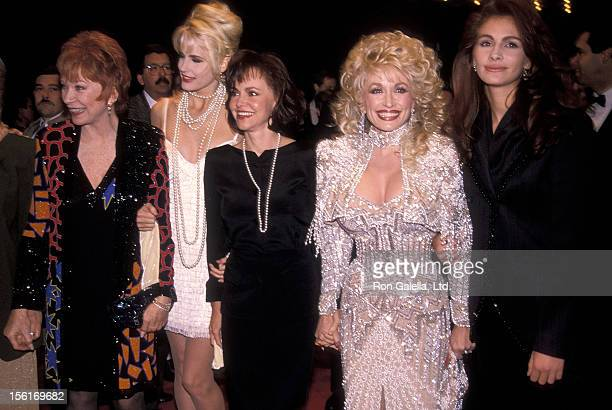 Actress Shirley MacLaine actress Daryl Hannah actress Sally Field singer Dolly Parton and actress Julia Roberts attend the 'Steel Magnolias' New York...