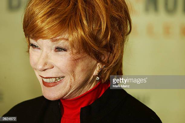 Actress Shirley Maclaine smiles at a signing for her new book 'Out on a Leash' at Barnes and Nobles Rockefeller Centre on October 21 2003 in New York...
